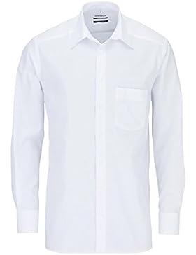 MARVELIS Comfort Fit Hemd Basic Kent Langarm Popeline weiß