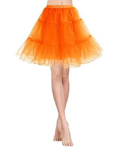 Gardenwed Kurz Damenrock 1950 Petticoat Reifrock Unterrock Tutu Minirock Ballett Tanzkleid Underskirt Crinoline für Rockabilly Kleid Orange S