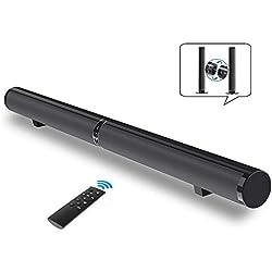 Barre de Son TV Soundbar Bluetooth 4.2, SoundBox TV Haut-Parleur Stéréo Speaker, 6 Haut-Parleurs et 2 Diaphragmes de Basse, Barre de Son détachable et séparable, 50W Support RCA/AUX/Opt/USB/Subwoofer