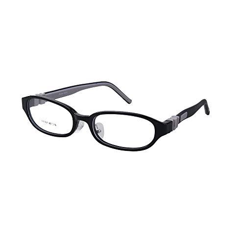 EnzoDate Kinder Brillen Biegsame Plano Linsen Größe 49mm, Kinder Brillen, Silikon TR90 Teens Brille, Unbreakable & Light (schwarz)