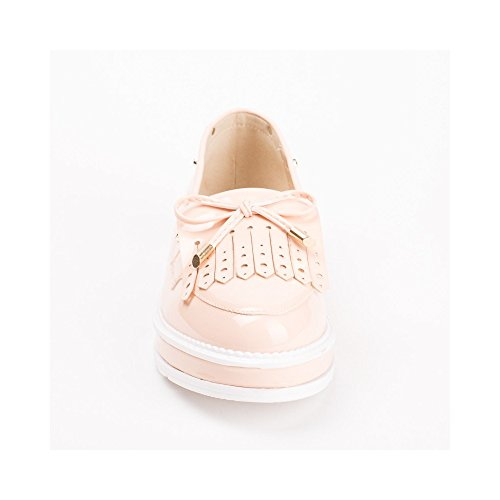 Ideal Shoes Mocassins Vernies à Franges Kanaya Rose
