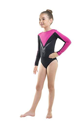 Siegertreppchen® Turnanzug für Mädchen Größe 128 Gymnastikanzug Langarm FLEURIE zum Turnen, Fitness & Tanzen in Pink