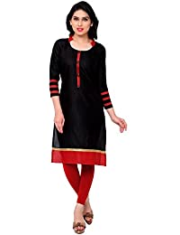 Param Creation Women's Black Cotton Kurti FBPC1126