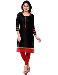 Param Creation Women's Black Cotton Kurti FBPC1126