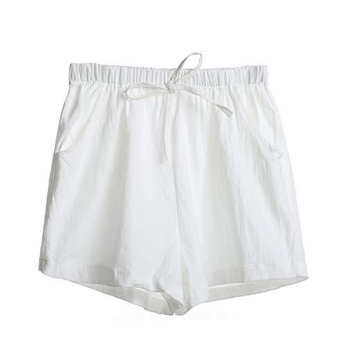 Yvelands Damen Shorts, High-Waist Cotton Flax Slacks und Casual Weite Hosen Loose Beach Shorts(Weiß,M) (Totes Baby Puppe Halloween Kostüm)
