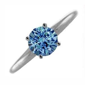 1 Carat Blue Diamond Ring - 18 Carat Gold - R , SI1