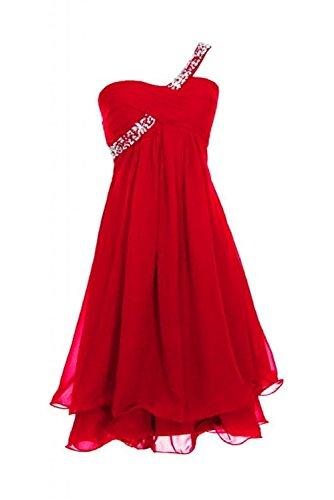 CoutureBridal® Robe courte de soirée cocktail en Chiffon Robe de Demoiselle D'honneur une Epaule avec Faux Diamants,Paillettes Rouge