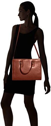 Borsa a cartella da donna con manici, modello italiano, Vera Pelle 100% Made in Italy Marrone