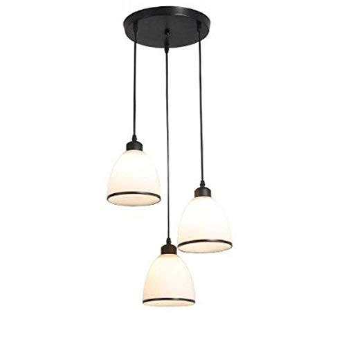 Glas Traditionellen Schatten (WYJW Amerikanischen traditionellen Milchglas Schatten Glas Pendelleuchte lackiert Moderne Kronleuchter minimalistischen Decke Leuchte für Küche Salon Bar weiß (Design: 3lightsA))