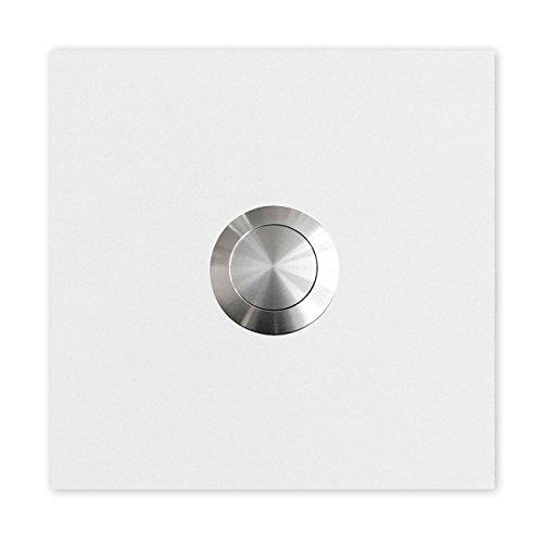 MOCAVI RING 110 Edelstahl-Design-Klingel signalweiß matt RAL 9003 quadratisch, Klingeltaster