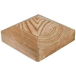 meingartenversand.de 10 x Kappen für Zaunpfosten/Pfosten Abdeckung 9x9 cm eckig in Pyramidenform aus Kiefer/Fichte Holz, druckimprägniert