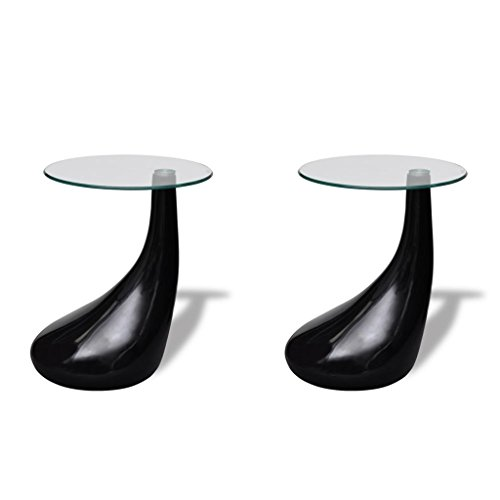 vidaXL Lot de 2 tables basse de salon verre trempé fibre de verre noir brillant