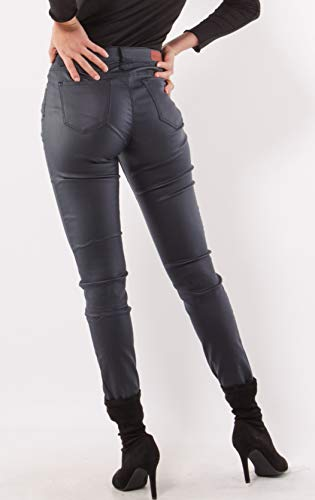 f5cd4f381a30 Women's Stretch Faux Leather Trousers Skinny Mid Rise Pants Navy Blue Uk  6-14 - £21.99