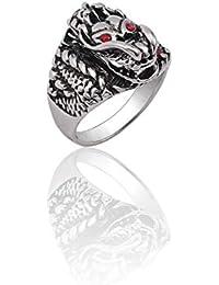 6ff75bba8ad0 ZUXIANWANG Ring Ring Cool Punk Hombres Vintage Acero Inoxidable Dragon Head Plata  Anillo de Cristal Rojo