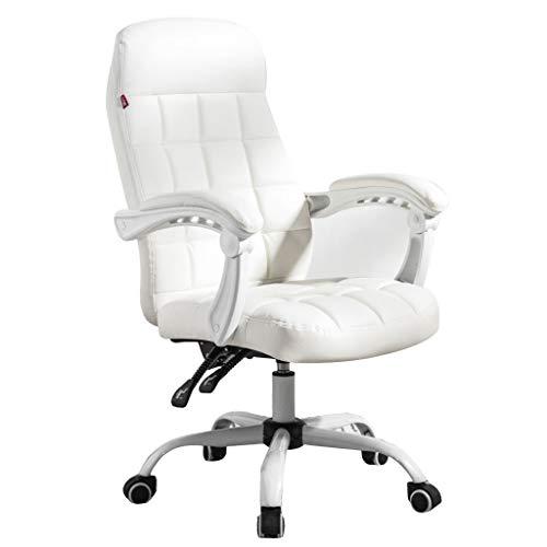 Lehnstühle Computer Stuhl Home Comfort boss Stuhl Spiel e-Sport Stuhl bürostuhl drehstuhl ergonomische Lounge Stuhl (Color : Weiß, Size : 64 * 48 * 105cm)