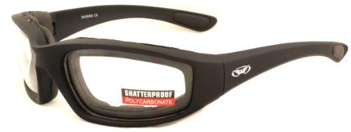 Klare Motorrad Rundum Sonnenbrille mit EVA Schaumstoffpolsterung mit kostenfreiem Mikrofaser Aufbewahrungstasche abzuschließen.