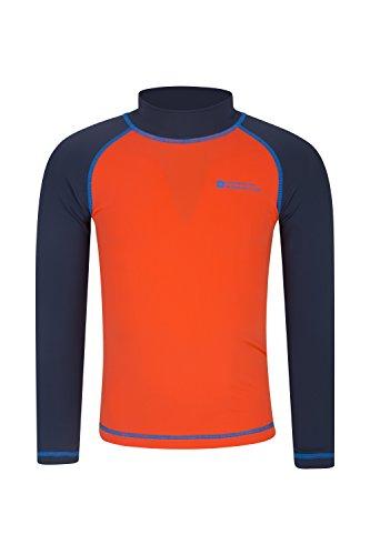 Mountain Warehouse Badeshirt für Kinder - Schwimmshirt mit UV-Schutz, Langarmshirt für Kinder, flache Nähte, schnelltrocknend, Stretch - Ideal zum Schwimmen Orange 116 (5-6 Jahre)