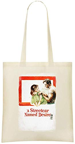 Un tramway nommé Désir Poster - A Streetcar Named Desire Poster Custom Printed Grocery Tote Bag - 100% Soft Cotton - Eco-Friendly & Stylish Handbag For Everyday Use - Custom Shoulder Bags