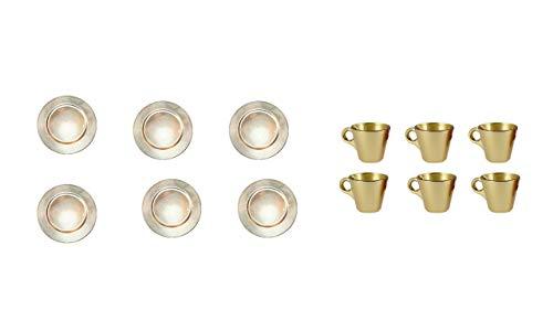 Ø 33cm Dekoteller Weihnachten Advent Hochzeit Unterteller Kunststoff Teller Tischdekoration underplates 6er Set Espresso Tassen Gold ()
