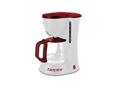 Beper 90.395H/RED Cafetera Goteo, 6 Tazas, 600 W, Plástico, Blanco y rojo.