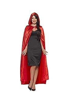 Smiffys-45529 Capa con Capucha, Saten, Color Rojo, Tamaño único (Smiffy