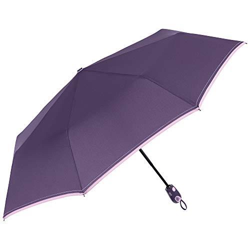 Paraguas Plegable Compacto Mujer Púrpura Liso Abre