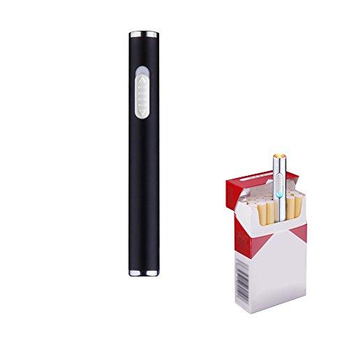 Pantheraa Mini USB Feuerzeuge Wiederaufladbar Winddicht Flammenlose Elektronische Plamsa Feuerzeug Tragbar, Schwarz