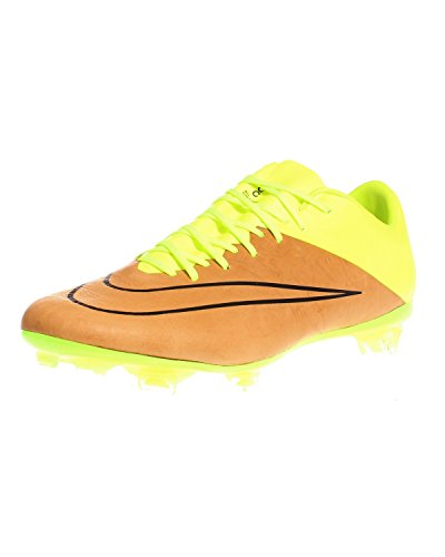 Nike Mercurial Vapor X Lthr Fg, Chaussures de Football Homme Multicolore - Dorado / Amarillo / Negro (Canvas/Black-Volt)