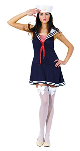 Karneval-Klamotten Sexy Matrosin Kostüm Damen Marine Damenkostüm blau-weiß-rot Karneval Kleid inkl. Matrosen-Mütze, Overknees Größe 40 (Kostüme Für Marine Damen)
