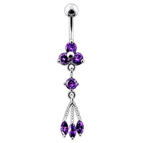 Bijou de Corps Anneau de Nombril motif Triple pierres pendantes en Argent Sterling avec Tige 14G -3/8 Inch (1.6x 10mm) en Acier chirurgical 316L Purple