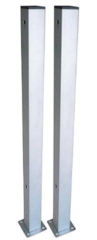 Poteaux en aluminium Gartenfreude avec support de fixation pour éléments de clôture en résine tressée, colours aluminium, 2 pièces, 100 cm