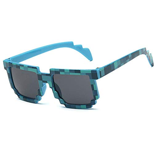 YSA Sonnenbrille Quadrat Mosaik Sonnenbrille Unisex Pixel Sonnenbrille Brille Kinder Geschenk Kinder Sonnenbrille