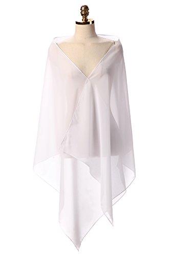 CoCogirls Chiffon Stola Schal für Abendkleid Weicher Chiffon-Shawl wickelt jedem Brautkleid - Ballkleid, Hochzeit Abend Gala Empfang White