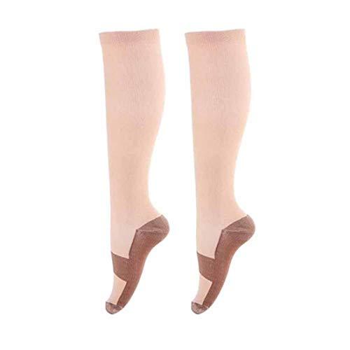 3 Para Unterstützung Kompressionsstrümpfe Kompressionssocken Fuß Anti Müdigkeit Wunder Kupfer Anti Müdigkeit Compression Socks Beige Xx-Groß -