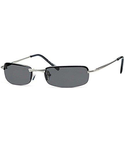 caripe sportliche Herren Sonnenbrille rechteckig getönt + verspiegelt - herso (One Size, Modell 5002 - silber - smoke getönt)