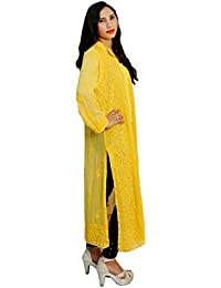 Panache Women's Georgette Handcrafted Chikan Long Kurti with Handcrafted Crosia Buttons(F/CK/00001_Yellow_42)