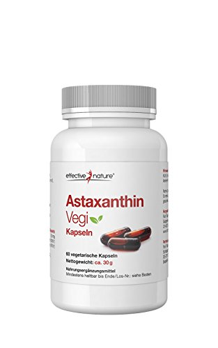 effective nature Astaxanthin Vegi - 60 Vegetarische Kapseln (30g) - Natürliches Astaxanthin aus Mikroalgen - Hilft bei Müdigkeit - Mit Vitamin C & E