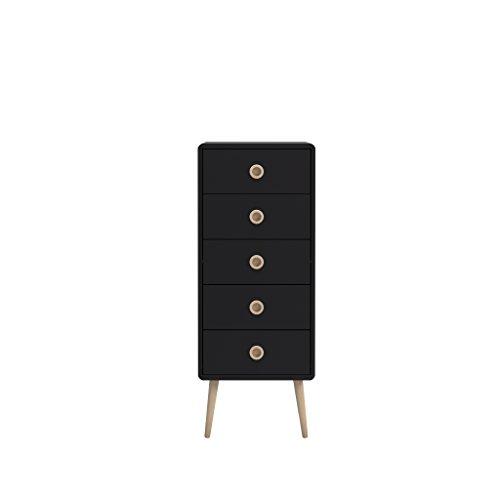 Steens Kommode Soft Line, Sideboard, Schubladenturm mit 5 Schubladen, (B/H/T) 41 x 105 x 40 cm, MDF, Schwarz (5 Schubladen Sideboard)