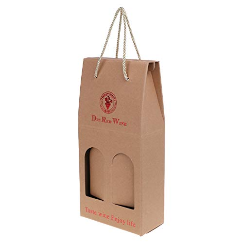 aft Papier Doppel Wein Flasche Tasche Tasche Geschenk Verpackung Box Alkohol Schnaps Halter ()