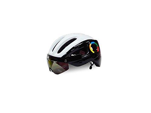 AHIMITSU Casco de Ciclismo Casco de Bicicleta para Adultos con Gafas Desmontables Casco de Montar Ajustable de una Pieza (Negro + Blanco) Artículos Deportivos