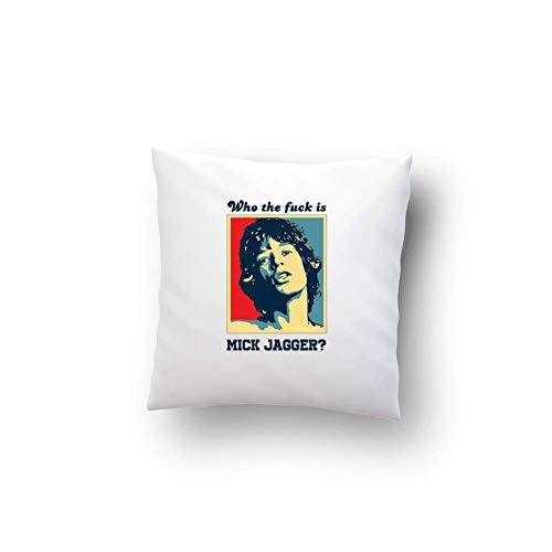Bikerella cuscino cotone 40x40 mick jagger - who the fa che is - yes we can bianco/color 40x40cm by