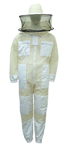 Professional Bee Imker-Anzug, Unisex, weißer Stoff, Netz, geeignet für die Bienenzucht, sicher gegen Stiche, belüfteter Schutzanzug