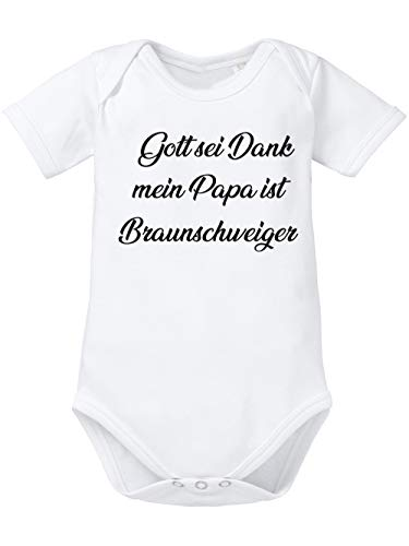 clothinx Gott Sei Dank, Mein Papa ist Braunschweiger, Lustiges Fussballmotiv Baby Body Bio Weiß Gr. 86-92