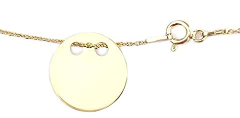 Celebrity Layered Style Pendant Necklace Solid Circle 925 Silver 24K Gold. Simple & Stunning! 1.5cm Pendant with 45cm Chain. 10 Year Guarantee.
