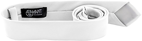 ADAMANT Weiße Designer Krawatte 5cm schmal - TOPQUALITÄT - Moderne Weiße Krawatte/Schlips für Business und Alltag - Weiß uni