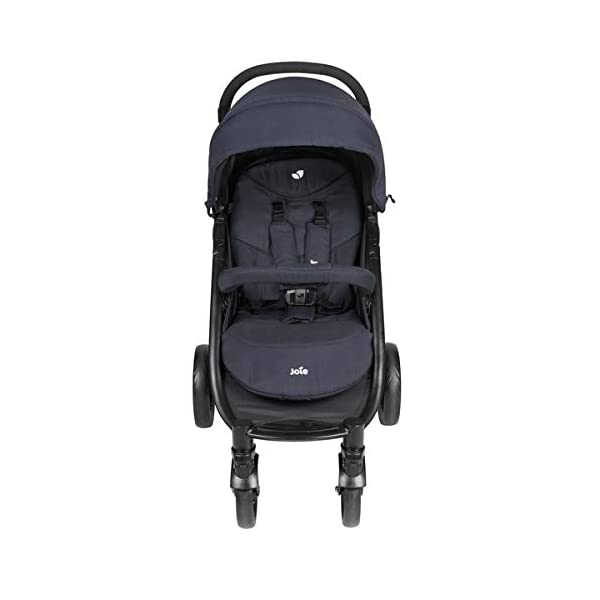 Joie Litetrax 4 Pushchair Navy Blazer  Bumper bar, raincover, shopping basket and parent tray with cupholders UPF 50+ sun canopy and oversized expandable hood SoftTouch 5-point safety harness adjusts to 3 heights 4-position recline and 2-position leg rest One-hand instant fold with automatic lock 2