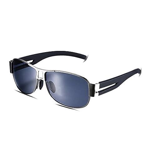 Hmilydyk pour homme Sports Lunettes de soleil polarisées UV400incassable Full Metal Cadre Eyewear Lunettes de ski Golf Course Camping, Grey Frame with Black Lens
