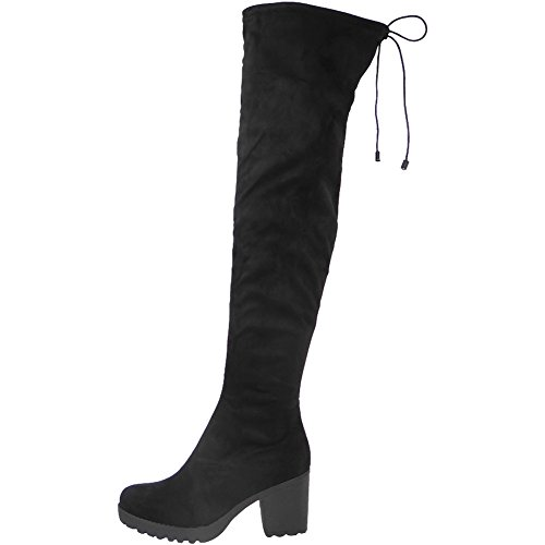 Womens Ladies Over The Knee Thigh High Boots Stretch Lace Up Mid...