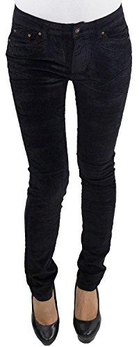 Damen Röhren Cordhose bis Übergröße Big Size Hose Skinny Stretch Kord 3 Farben Schwarz L/40