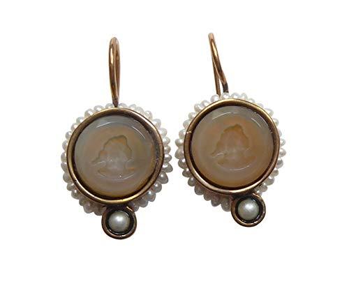 Leichte Gemmen-Ohrringe Ohrhänger bernstein-farben Glas-Gemme rund kleine Süßwasser-Perlen Haken verschließbar Bronze Handarbeit EXTASIA